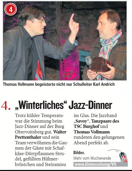 Presse - Kleine Zeitung 28 05 2013 - Jazzdinner